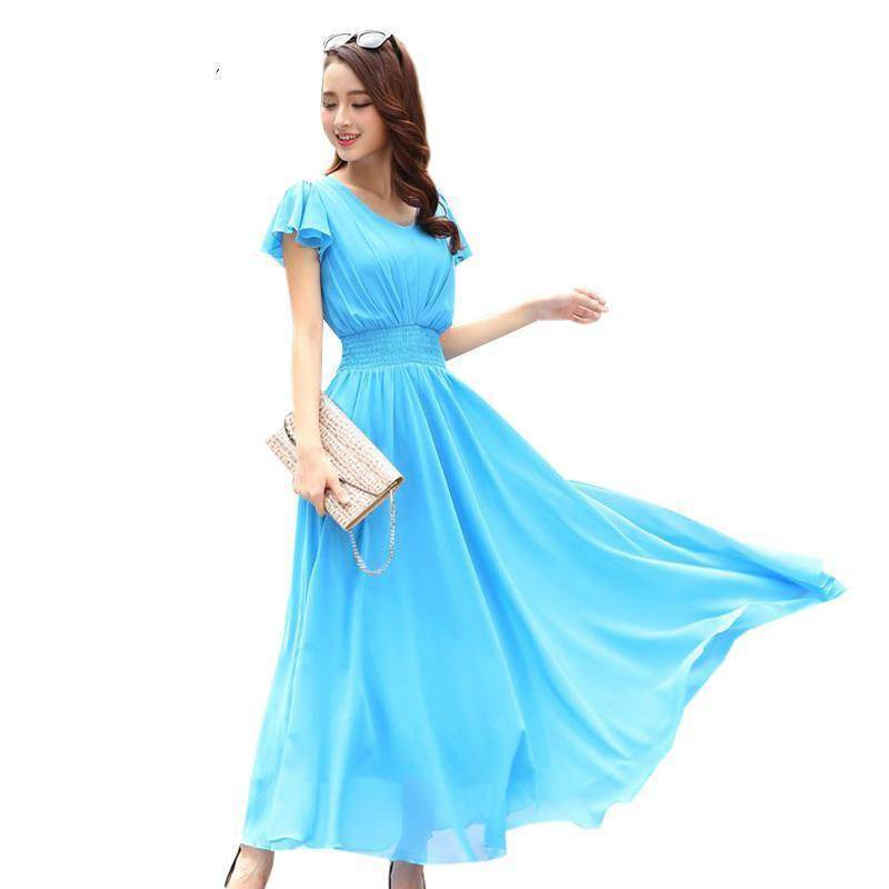 Clothing Blue / S (US 6) Chiffon Solid Bohemian Dress Maxi dresses V-Neck Causal  (US 6-12)