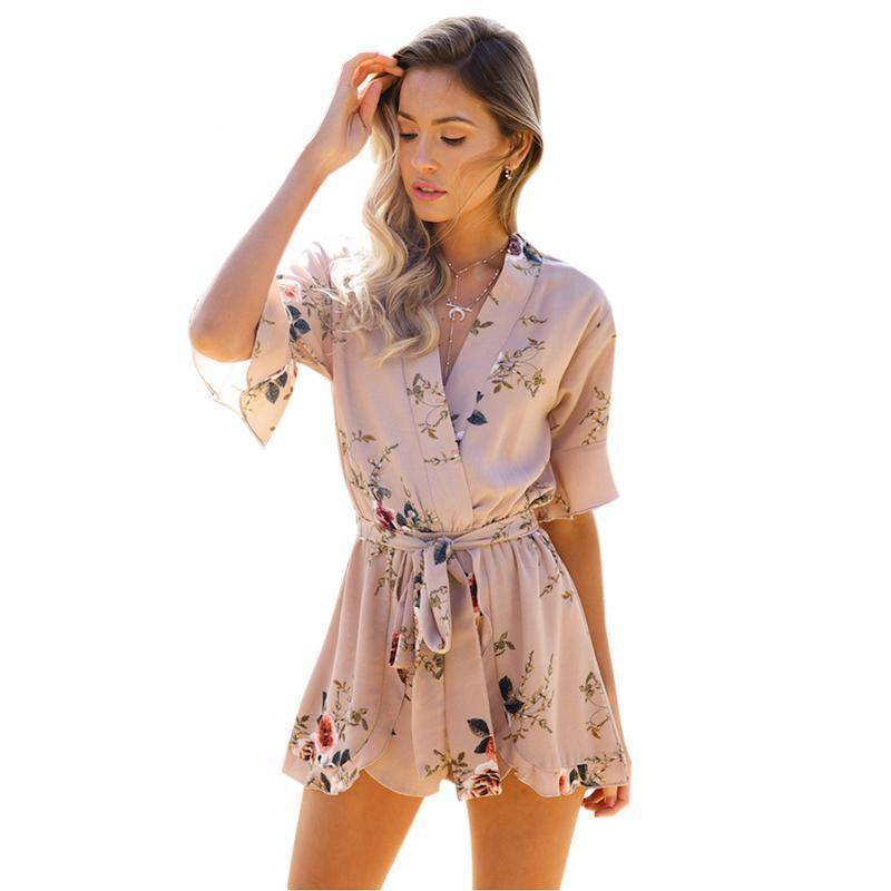 Clothing Boho Floral Print Ruffles Playsuits V Neck Jumpsuits Rompers  (US 8-14)