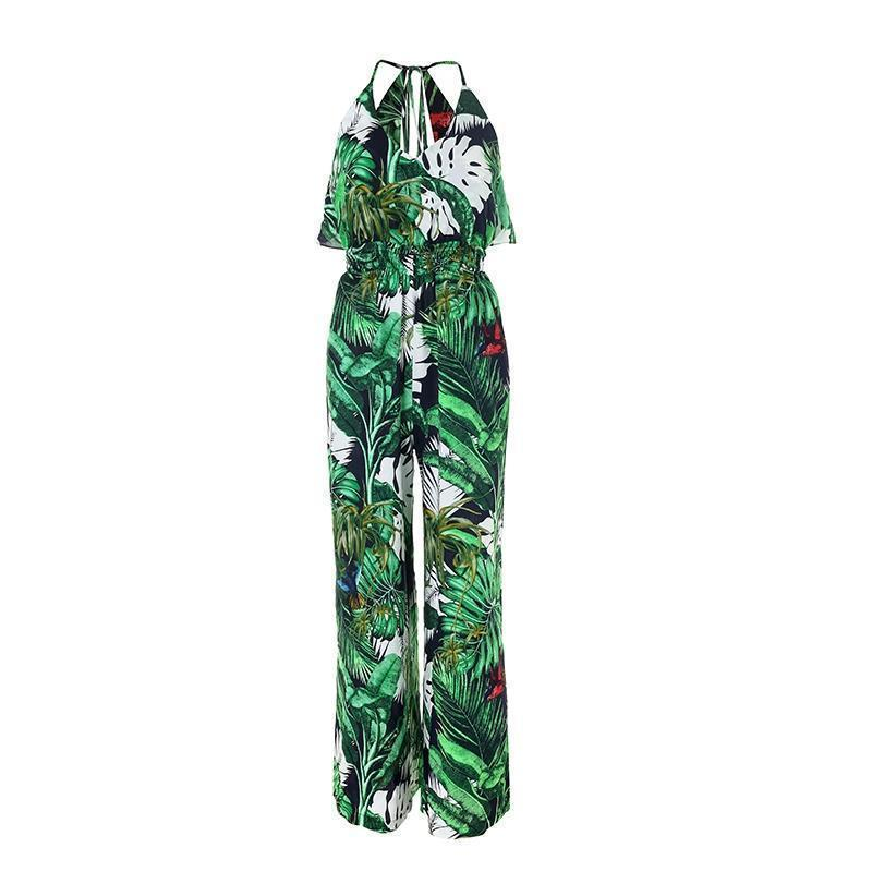 Clothing Boho Green Ruffle Leaf Print Sexy Jumpsuit (US 10-16)
