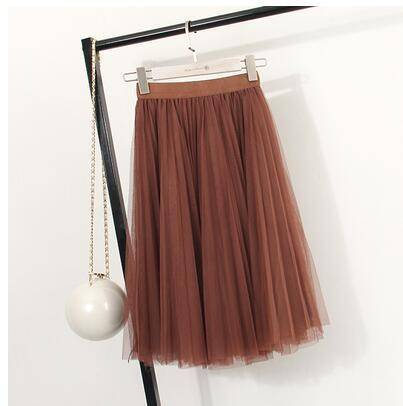 "clothing Brown Fits 22"" - 41"" wasit - Three Layers, Tulle Elastic High waist Midi Skirt"