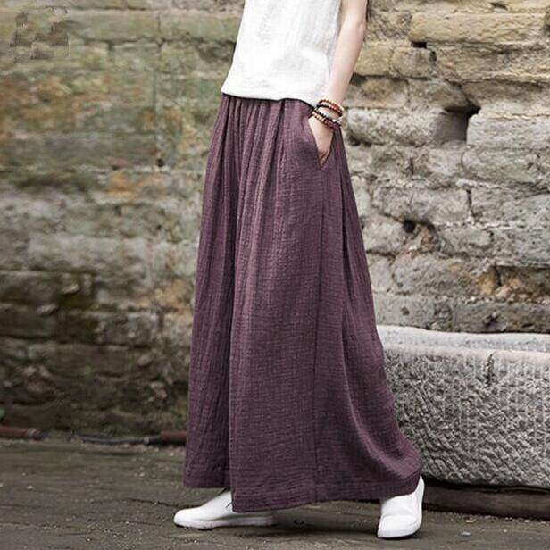 Clothing Brown / M (US 2) Loose Wide  Elastic Waist Cotton linen Trousers (US 2-18W)