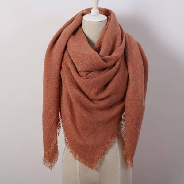 clothing brown Oversize Solid Color Winter Square Scarf, XL Women Blankets,  Luxury Shawl 140cm x 140cm