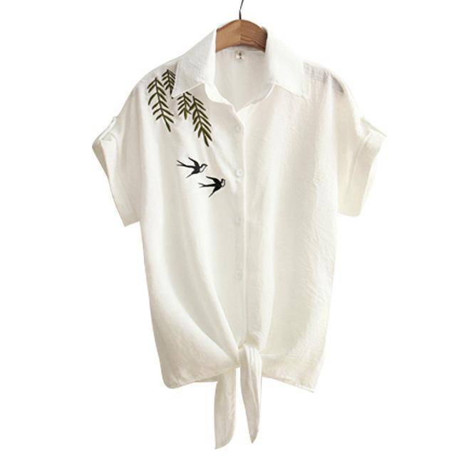 Clothing Brown / S (US 8-10) Embroidery White Top Blouses Shirts (US 8-16)