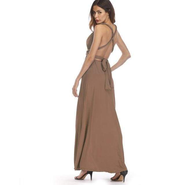Clothing Brown / S (US 8-10) Plus Size - Infinity Convertible Wonder Dress,  20 Colors Summer Maxi Party Dresses Multiway Swing Dress  Wrap Dress (US 8 - 18 W)