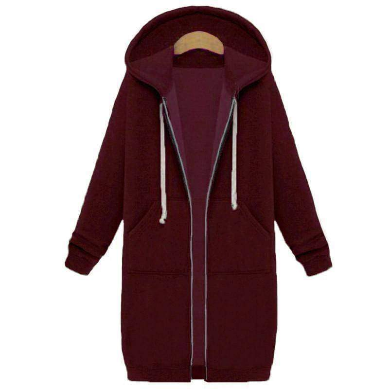 clothing burgundy / S Oversized S-5XL Long Hoodies Coat with Pockets