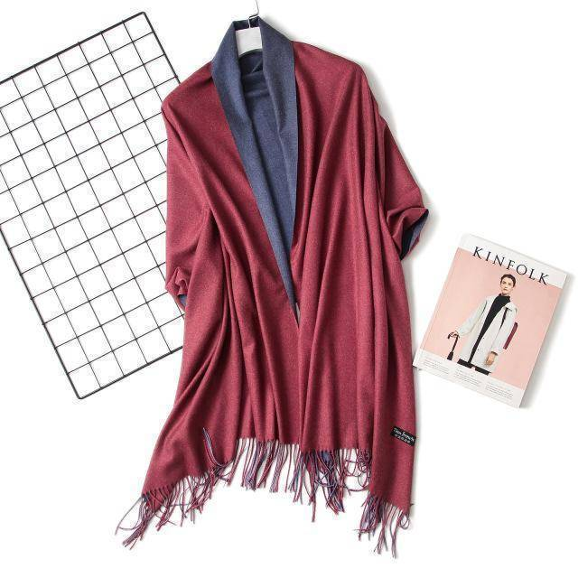 clothing c1 18 Colors, Double-side soft Cashmere scarves, shawls and wraps with Tassel