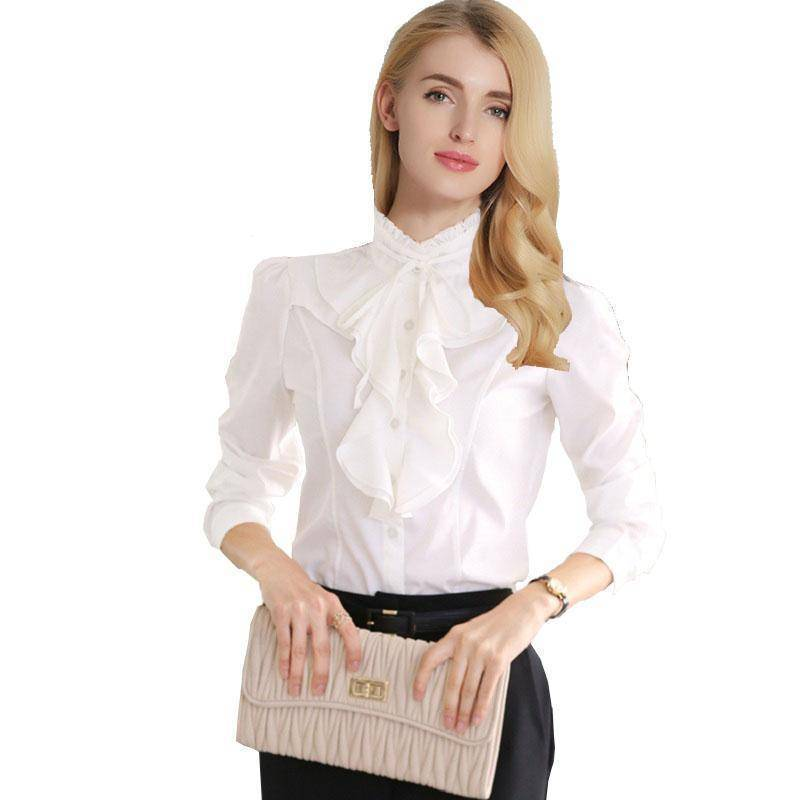 Clothing Chiffon Ruffles Shirts  (US 2-18W)