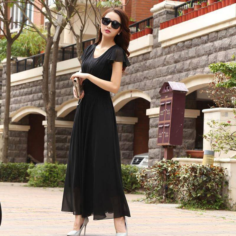 Clothing Chiffon Solid Bohemian Dress Maxi dresses V-Neck Causal  (US 6-12)