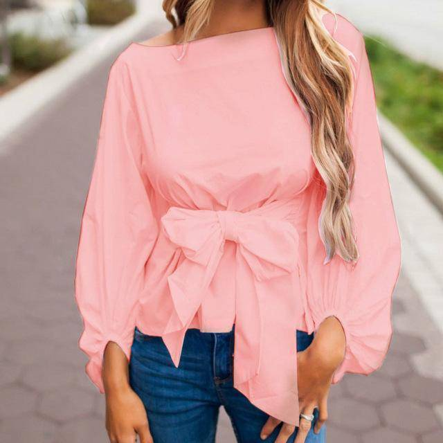clothing Chiffon Wrap Blouse Women Shirts  Lantern Long Sleeve (US 4-12)