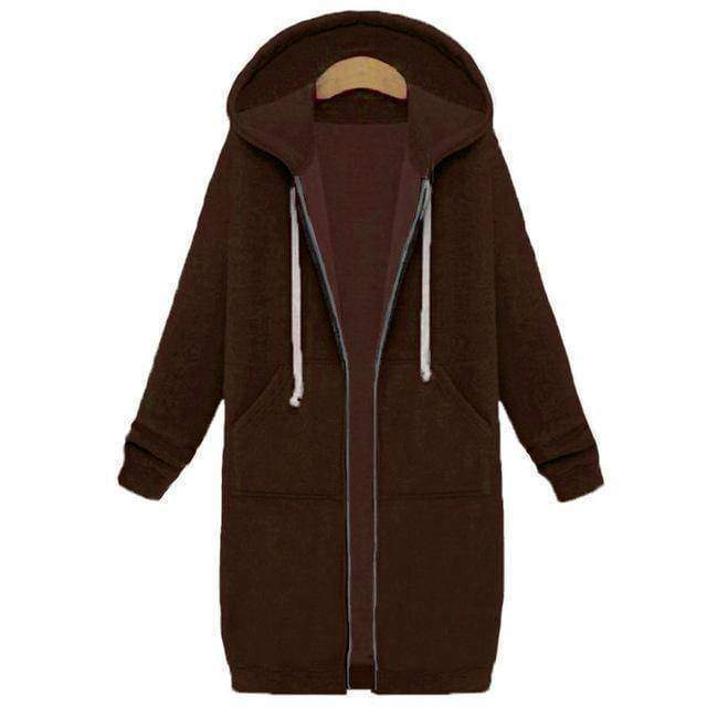 clothing Coffee / S Oversized S-5XL Long Hoodies Coat with Pockets