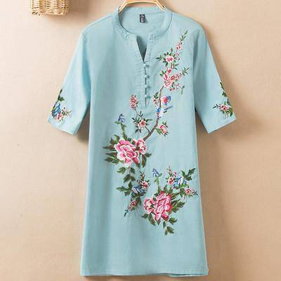 Clothing Color 4 / L (US 10-12) Plus Size - US (10-20W)  Embroidery Vintage Print Floral Linen Blouses, Short Sleeve V-Neck Shirt, Plus size