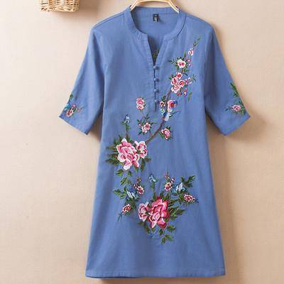 Clothing Color 5 / L (US 10-12) Plus Size - US (10-20W)  Embroidery Vintage Print Floral Linen Blouses, Short Sleeve V-Neck Shirt, Plus size
