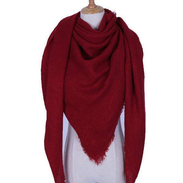 clothing Crimson Oversize Solid Color Winter Square Scarf, XL Women Blankets,  Luxury Shawl 140cm x 140cm