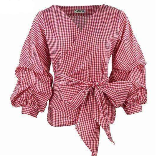 Clothing Crimson / S (US 2-4) Plus Size - Puff Sleeve Blouse with Belt Women Sexy V Neck  Plaid Tops  (US 2-22W)