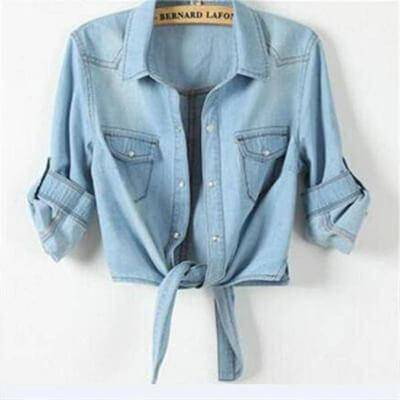 Clothing Cropped sleeves Denim Shirts (US 6-16)