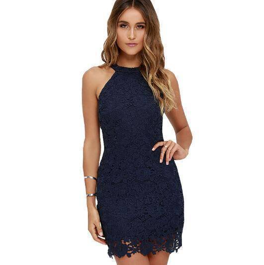 Clothing Dark Blue / S (US 2-4) Womens Elegant Wedding Party Sexy Night Club Halter Neck Sleeveless Sheath Bodycon Lace Dress Short (US 2-16)