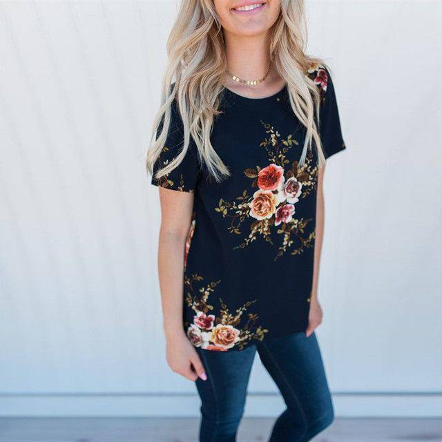 Clothing Dark Blue / S (US 6-8) Floral Short Sleeve Ladies Chiffon Loose Casual Tops Round Neck (US 6-16W)