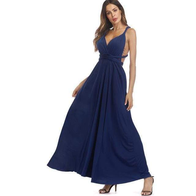 Clothing Dark Blue / S (US 8-10) Plus Size - Infinity Convertible Wonder Dress,  20 Colors Summer Maxi Party Dresses Multiway Swing Dress  Wrap Dress (US 8 - 18 W)