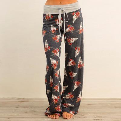 Clothing dark gray style / S (US 2-4) Loose Print Pink Flower Floral Harem Pants Capri Bottoms Sweatpants High Waist Female Pants Women Summer Wide Leg Trousers (US 2-14)