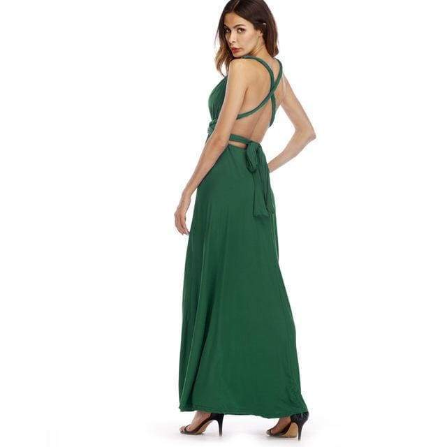 Clothing Dark Green / S (US 8-10) Plus Size - Infinity Convertible Wonder Dress,  20 Colors Summer Maxi Party Dresses Multiway Swing Dress  Wrap Dress (US 8 - 18 W)