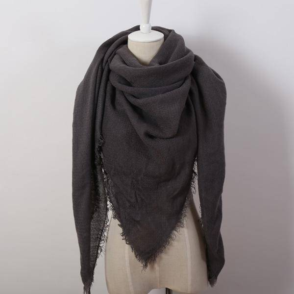 clothing dark grey Oversize Solid Color Winter Square Scarf, XL Women Blankets,  Luxury Shawl 140cm x 140cm