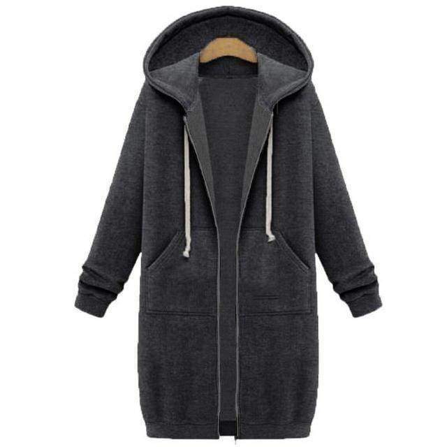 clothing Dark Grey / S Oversized S-5XL Long Hoodies Coat with Pockets