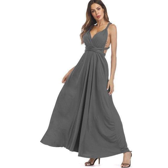 Clothing Dark Grey / S (US 8-10) Plus Size - Infinity Convertible Wonder Dress,  20 Colors Summer Maxi Party Dresses Multiway Swing Dress  Wrap Dress (US 8 - 18 W)