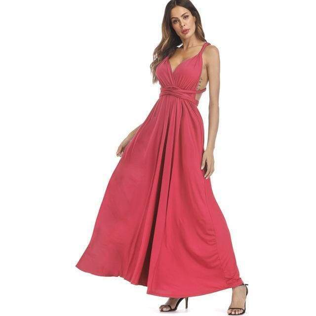 Clothing Dark Orange / S (US 8-10) Plus Size - Infinity Convertible Wonder Dress,  20 Colors Summer Maxi Party Dresses Multiway Swing Dress  Wrap Dress (US 8 - 18 W)