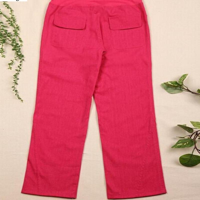 "Clothing Elastic waist women  Linen pants, wide leg pants casual pants top straight pants loose trousers ( Up to 31"" waist)"