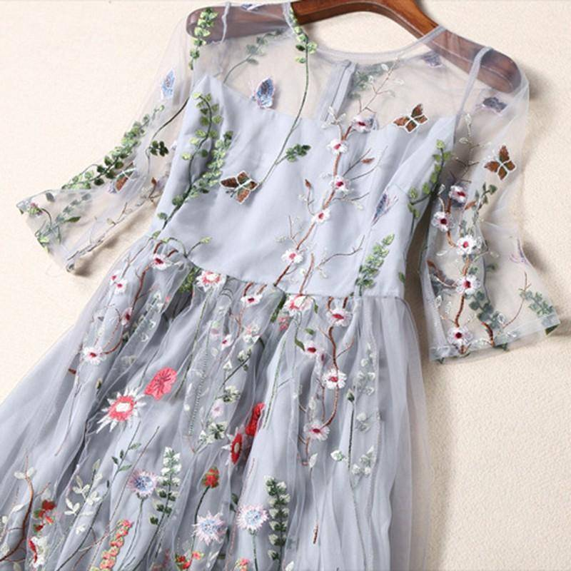 clothing Embroidery Ankle Floral Knee length Lining Dress US 10-12
