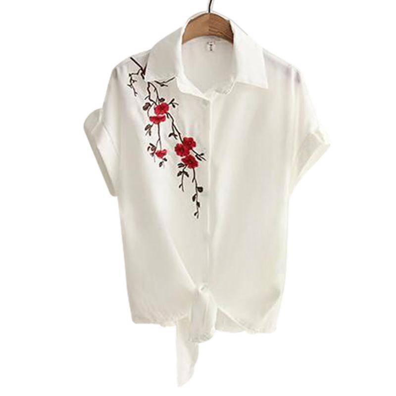 Clothing Embroidery White Top Blouses Shirts (US 8-16)