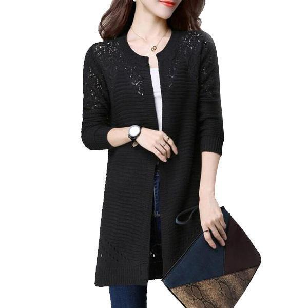 Clothing Fall Women Cardigan Solid Color Hollow Out Sweaters Size S-XXL Poncho Full Sleeve Open Stitch Female Knitted Outerwear (US 2-12)