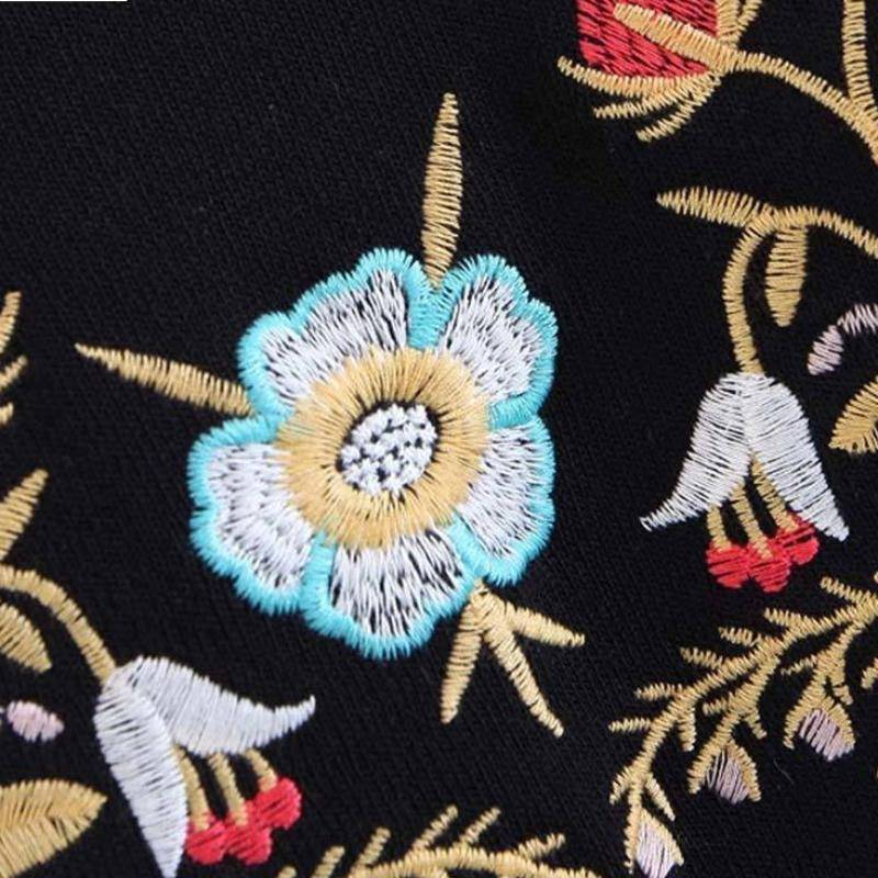 Clothing Floral embroidery bow tie sleeve black pullover (US 2-8)