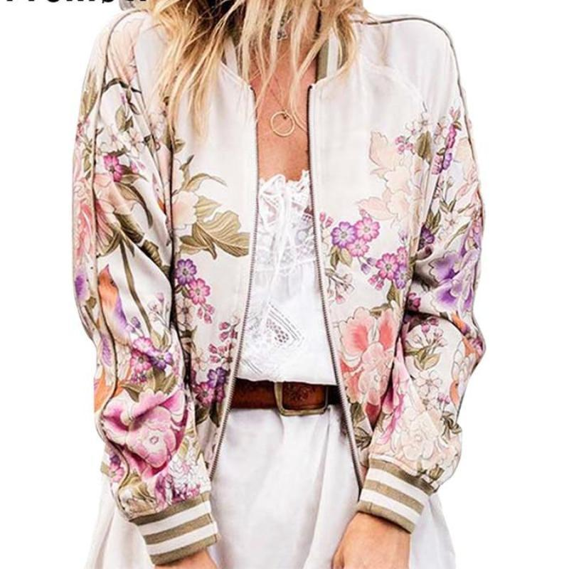 Clothing Floral Print Bomber Jacket Women Coat New Fashion O Neck Long Sleeve Streetwear Outwear Casual Casaco Feminino (US 14-18W)