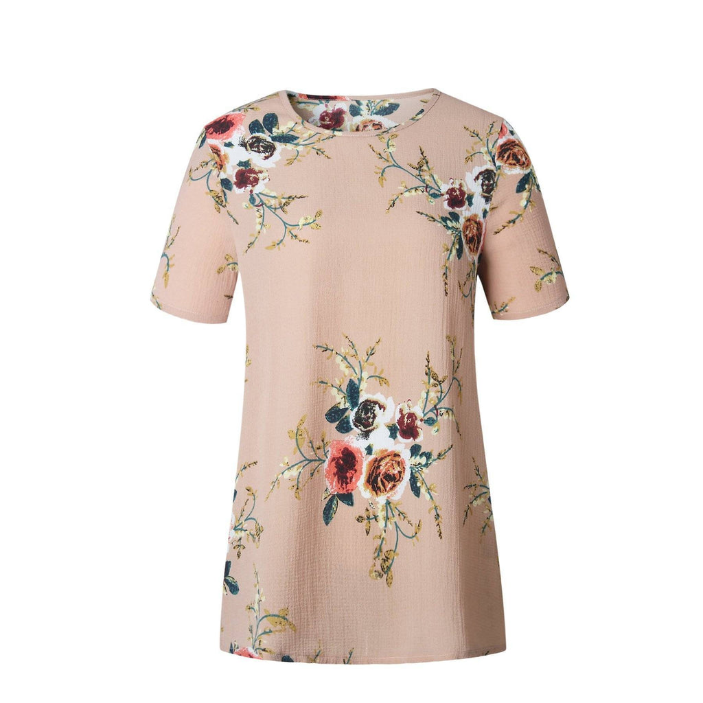 Clothing Floral Short Sleeve Ladies Chiffon Loose Casual Tops Round Neck (US 6-16W)