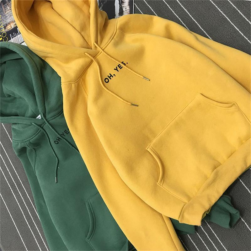 Clothing Fsdhion Autumn Winter Fleece Oh Yes Letter Harajuku Print Pullover Thick Loose Women Hoodies Sweatshirts Female Casual Coat (US 12-18W)