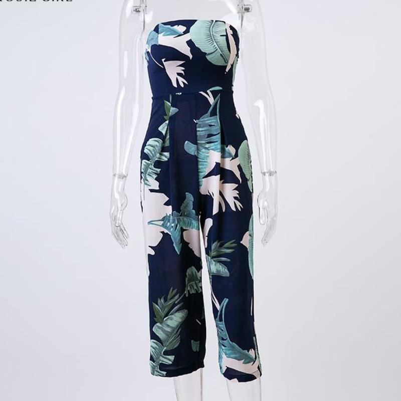 clothing Girl Off Shoulder Navy Blue Floral Print Jumpsuit Women Summer Beach Long Rompers Sexy Backless Playsuits Overalls (US 4-12)