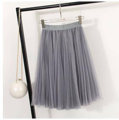 "clothing Gray Fits 22"" - 41"" wasit - Three Layers, Tulle Elastic High waist Midi Skirt"