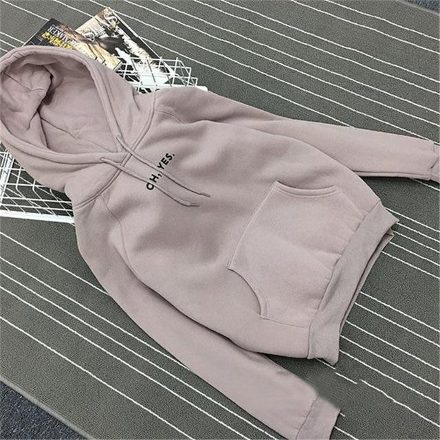 Clothing Gray / M (US 12-14) Fsdhion Autumn Winter Fleece Oh Yes Letter Harajuku Print Pullover Thick Loose Women Hoodies Sweatshirts Female Casual Coat (US 12-18W)