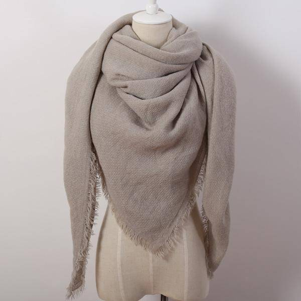 clothing gray Oversize Solid Color Winter Square Scarf, XL Women Blankets,  Luxury Shawl 140cm x 140cm