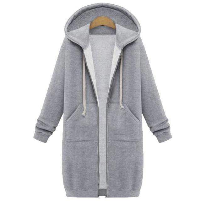 clothing Gray / S Oversized S-5XL Long Hoodies Coat with Pockets