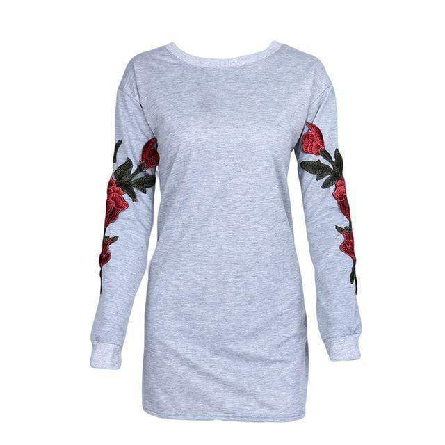 clothing gray / S Plus Size Rose floral Embroidery Long Sleeve Pullovers Sweatshirt Hoodies S-5XL