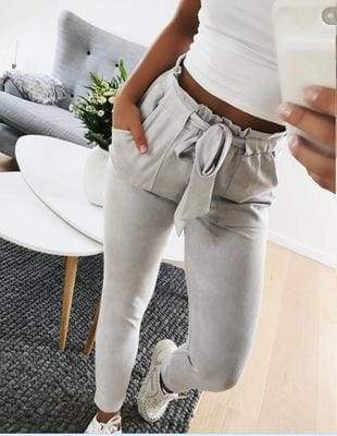 Clothing gray / S (US 2) Striped Strechy Elastic High Waist Harem Pants Women Bowtie Belt Slim Long Trousers Women's Casual Capris With Pockets (US 2-16)
