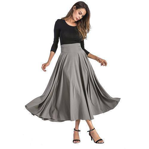 Clothing Gray / S (US 6-8) Maxi Skirt vintage Retro High Waist Pleated  Long Skirts Back Bow with Belt (US 6-16)