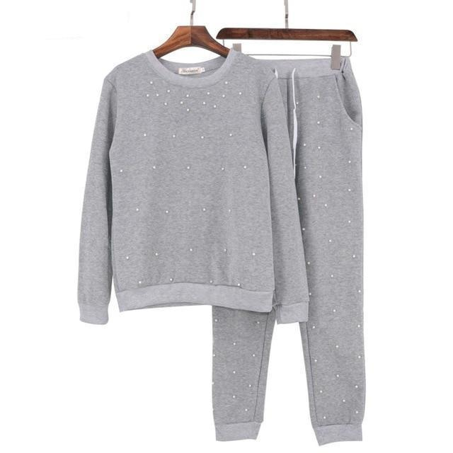 Clothing Gray / S (US 6-8) New Fashion Long Sleeve Pearl Beading Women's Tracksuits O-Neck Sweatshirt + Long Pants 2 Piece Women Set (US 6-16)