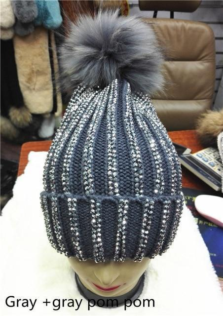 Clothing gray with gray pom Removable Winter Warm Fur Pom pom Knitted bling Hats,  Skullies Beanie With 15cm Fur Ball