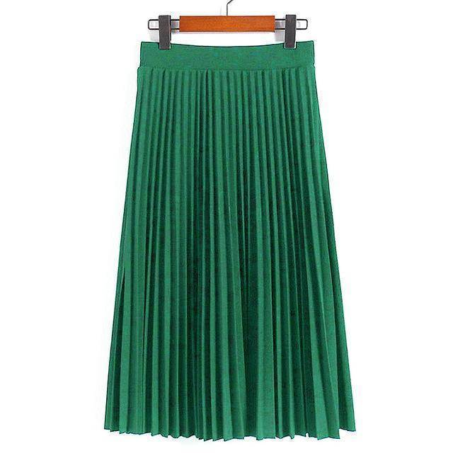 "clothing green Fits Waist 25'-35"", 10 Matte Colors, Breathable, High Waist Pleated Ankle Length Chiffon Skirt"