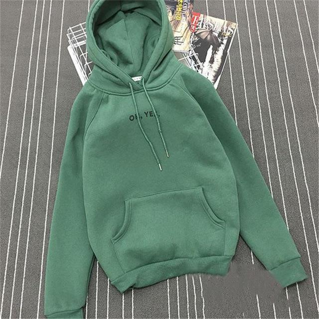 Clothing Green / M (US 12-14) Fsdhion Autumn Winter Fleece Oh Yes Letter Harajuku Print Pullover Thick Loose Women Hoodies Sweatshirts Female Casual Coat (US 12-18W)