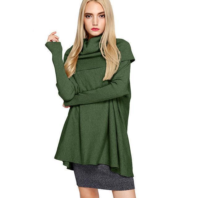 Clothing green / One Size Women Sweaters And Pullovers Easy Knitting Unlined Upper Garment Long Sleeve Knitting Sweater Woman (US 26W)
