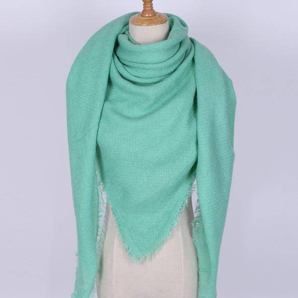 clothing Green Oversize Solid Color Winter Square Scarf, XL Women Blankets,  Luxury Shawl 140cm x 140cm